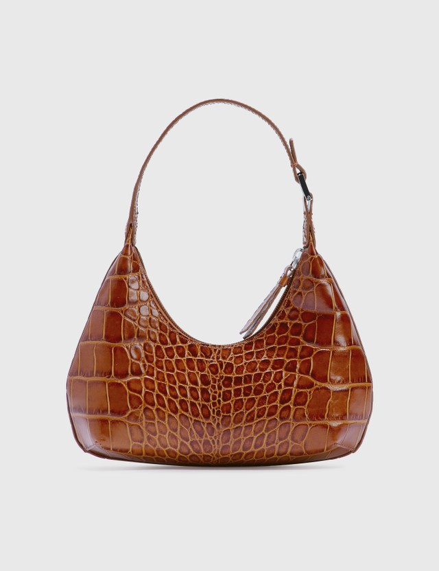 BY FAR Baby Amber Tan Croco Embossed Leather Tan Women
