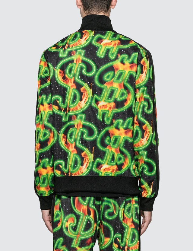 SSS World Corp Fire All Over Print Dollar Fire Track Top Black Men