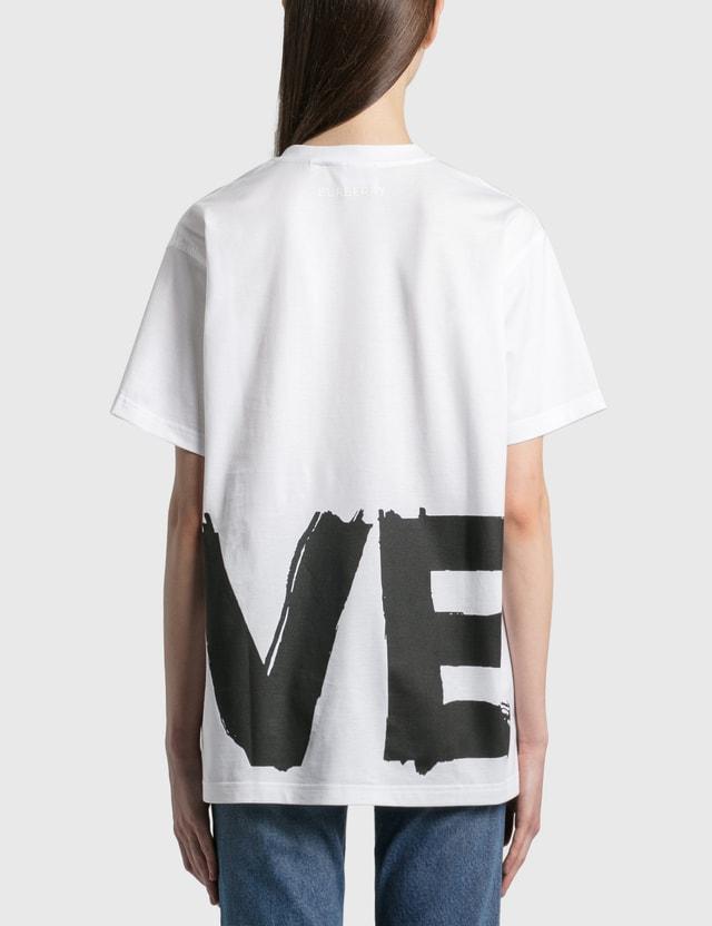 Burberry Love Print Cotton 오버사이즈 티셔츠 White Women