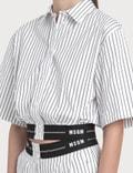 MSGM Striped Crop Shirt With Logo Elastic