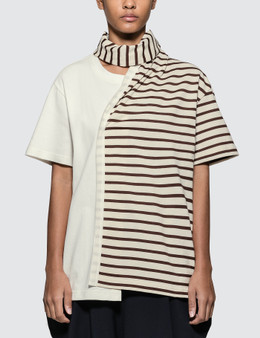 JW Anderson Striped Jersey Tee With Draped Scarf