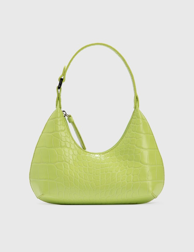 BY FAR Baby Amber Matcha Croco Embossed Leather Matcha Women