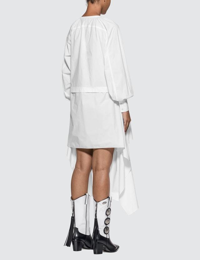 JW Anderson Draped Cotton Smock Dress White Women