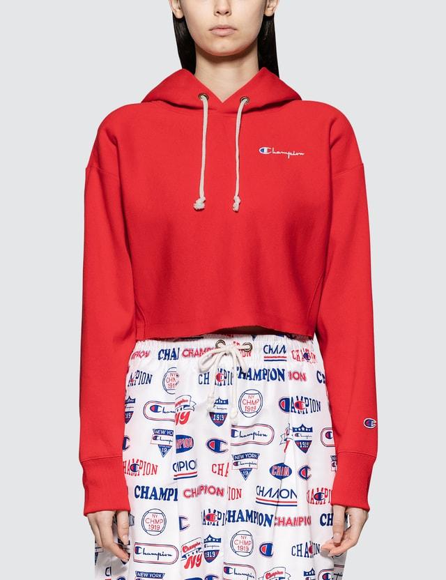 Champion Reverse Weave Cropped Hooded Sweatshirt Red Women
