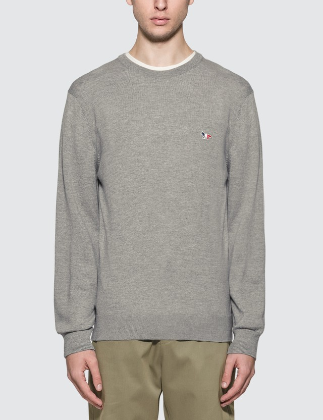 Maison Kitsune Tricolor Fox Knitted Jumper