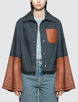 Loewe Button Jacket With Leather Cuffs