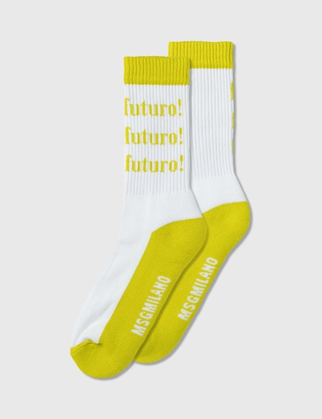 MSGM Futuro Logo Socks Fuchsia/white Women