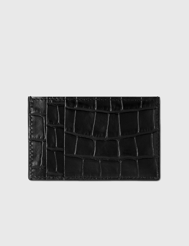 Alexander McQueen Skull Croc Embossed Card Holder Black Men