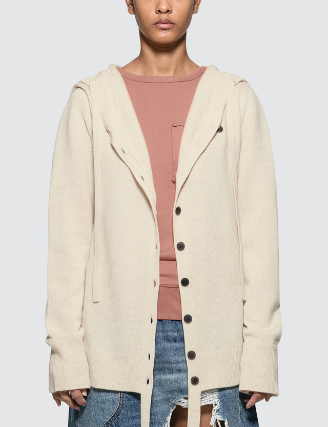 JW Anderson Wool Cashmere Hooded Cardigan