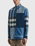 Burberry Patchwork Check Cotton Poplin Shirt Vivid Cobalt Ip Chk Men