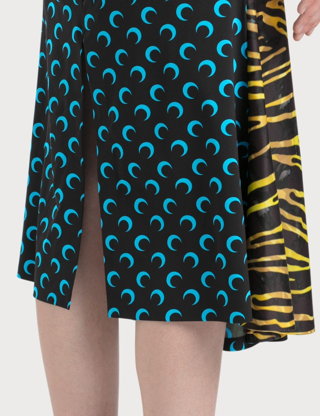 Marine Serre Midi Skirt With Zebra Side Panel
