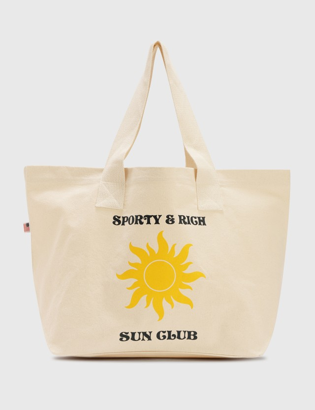 Sporty & Rich S&r Sun Club Tote Bag Natural/black Print Women
