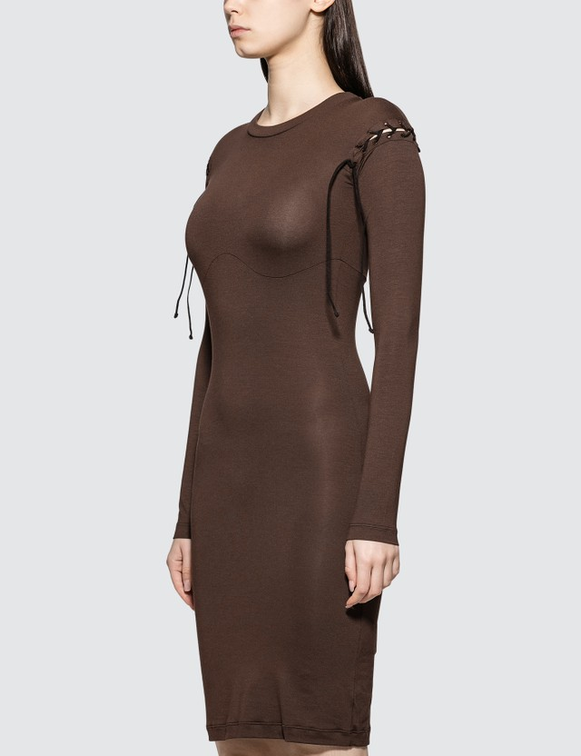 Unravel Project Stretchy Lace-up Dress Dark Brown Women