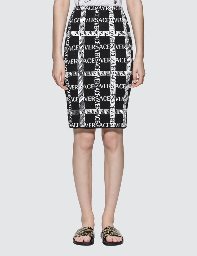 Versace Grid Logo Printed Knit Midi Skirt