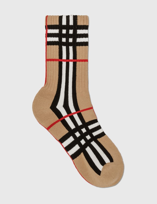 Burberry Check Intarsia Technical Stretch Cotton Socks