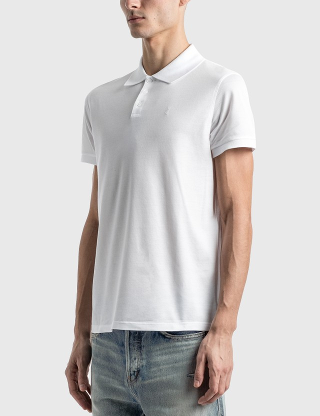 Saint Laurent Monogram Polo Shirt Blanc Men