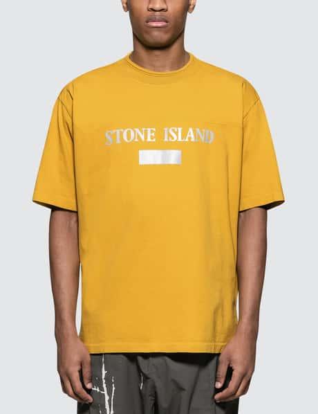 스톤 아일랜드 19 S/S 텍스트로고 반팔 티셔츠 겨자 Stone Island S/S T-Shirt