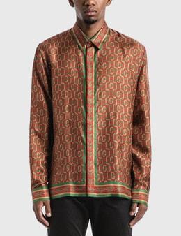 Casablanca Silk Twill Laurel Monogram Dark Shirt