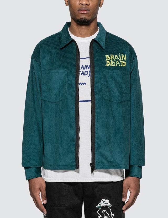 Brain Dead 버섯 자수 코르덴 셔트 재킷 =e36 Men