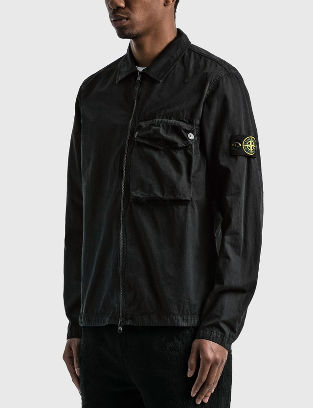 Stone Island Zip Pocket Overshirt Black  Men