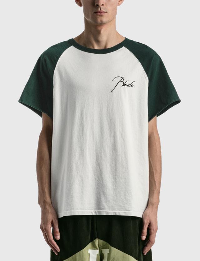 Rhude Raglan T-shirt Em Green/white Men