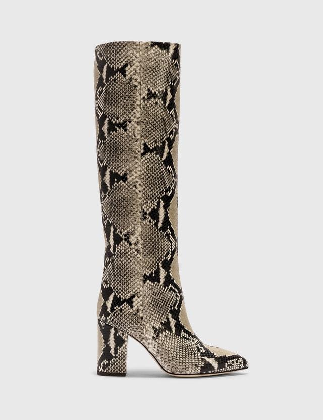 Paris Texas Python Printed Leather Block Heel Boot 116 - Naturale Women