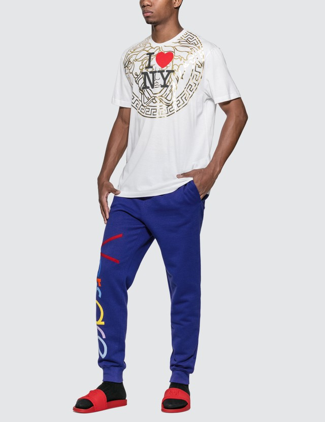 Versace I Love NY Print T-shirt Bianco Men