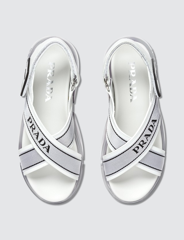 Prada Cloudbust Fabric And Leather Sandals