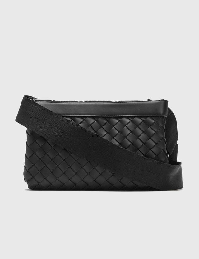 Bottega Veneta Intrecciato Hydrology Leather Messenger Bag Black  Men