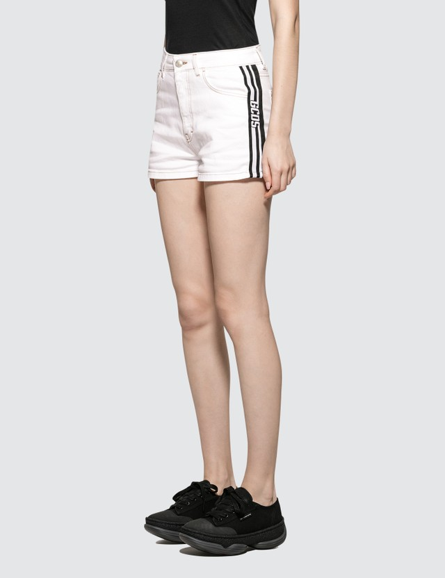 GCDS Denim Band Shorts White Women