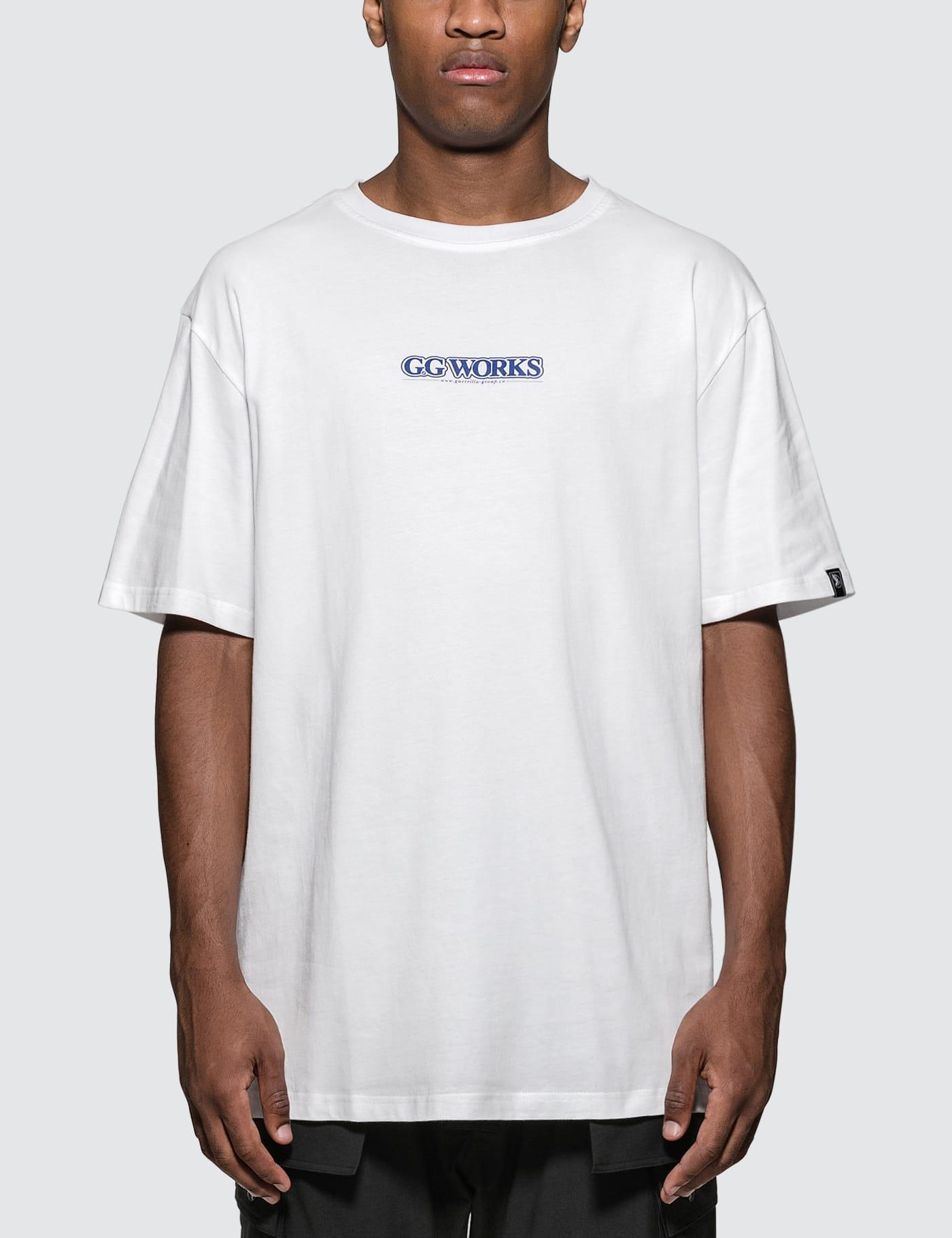 "GUERRILLA-GROUP | Guerrilla-Group ""GG WORKS"" Logo Print S/S T-Shirt | Goxip"