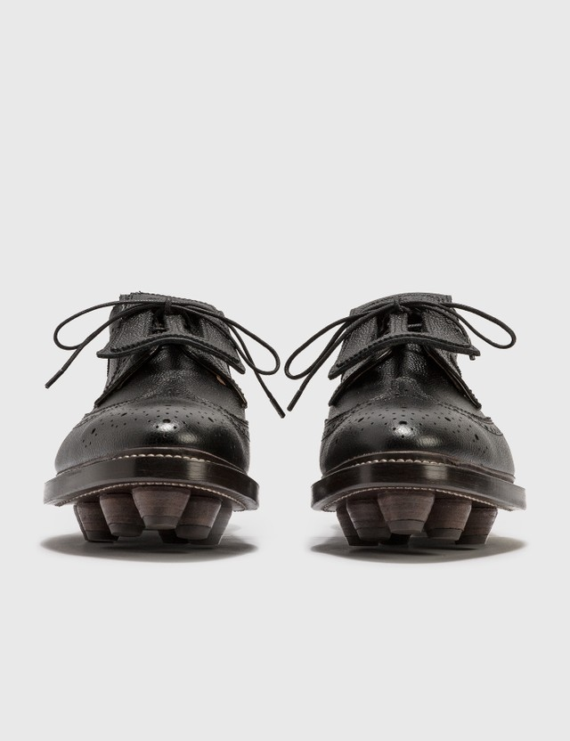 Thom Browne Longwing Cleat Pebble Grain Leather Shoes Black Men