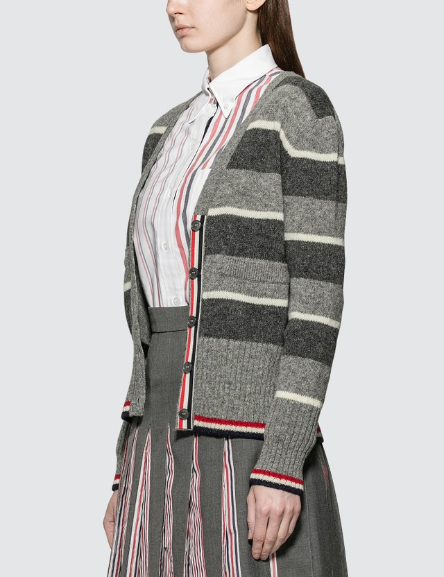 Thom Browne Wide Repp Stripe Relaxed Cardigan