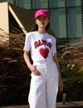 Ganni Heart Basic Cotton Jersey T-Shirt Bright White Women