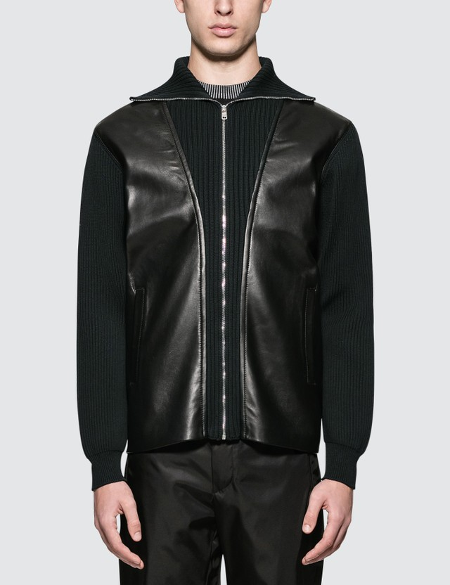 Prada Ribbed Knit Leather Jacket