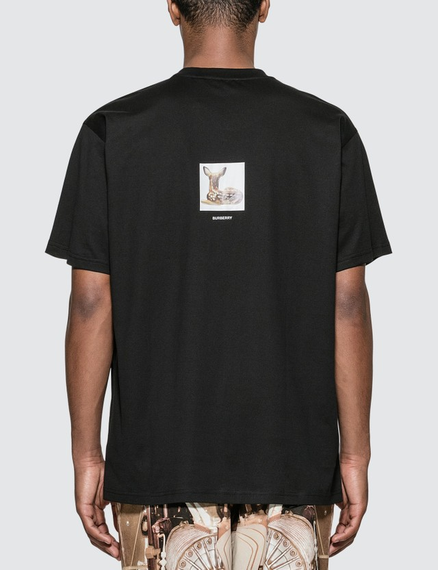 Burberry Deer Print Cotton Oversized T-shirt Black Men