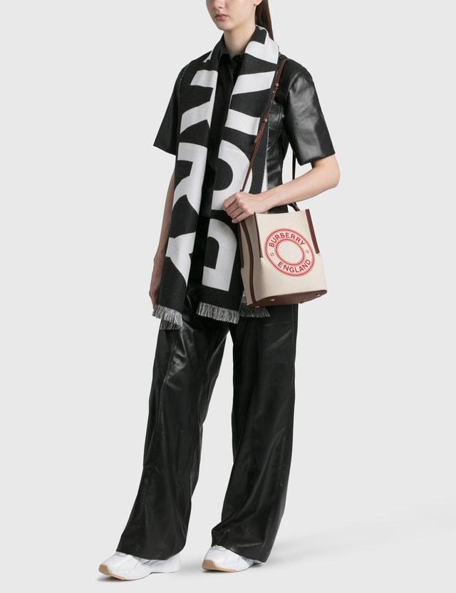 Burberry Logo Wool Jacquard Scarf Black Women