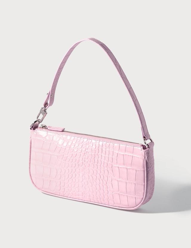 BY FAR Rachel Croco Embossed Leather Bag