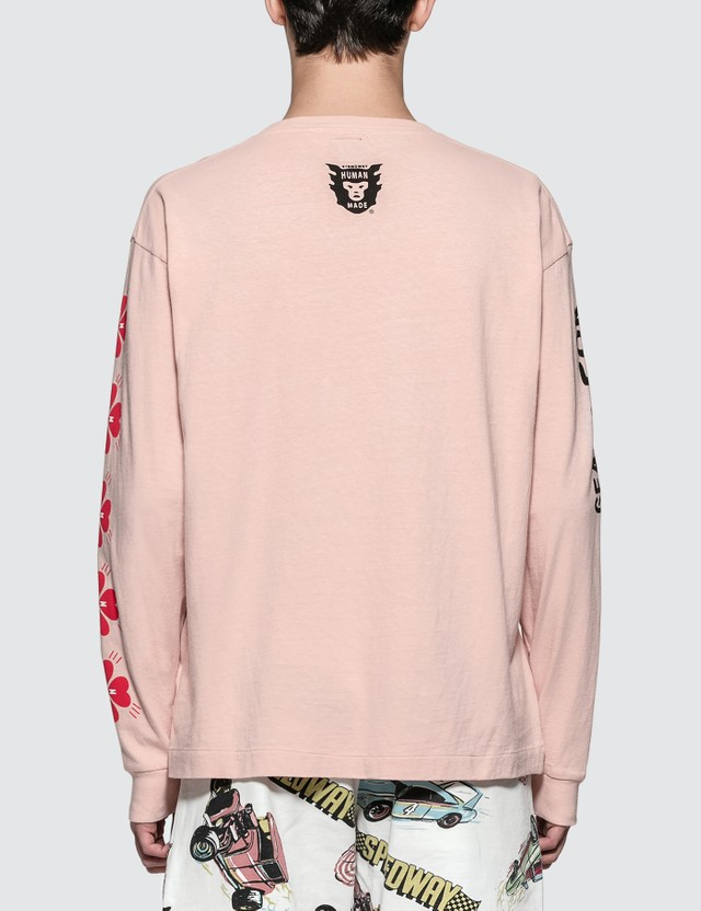 Human Made Pink Screen Printed sleeve L/S T-Shirt
