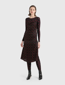 Marine Serre Jacquard Silk Bias Dress