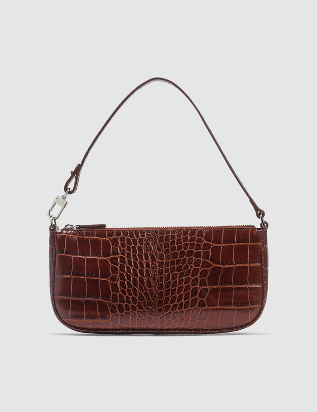 BY FAR Rachel Nutella Croco Embossed Leather Bag