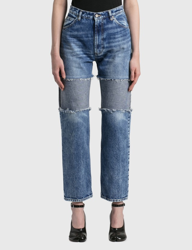 Maison Margiela Spliced Thigh Recycled Jeans Blu Denim Rec Women