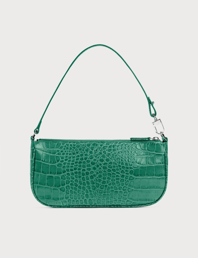 BY FAR Rachel Emerald Green Eme Croco Embossed Leather Bag