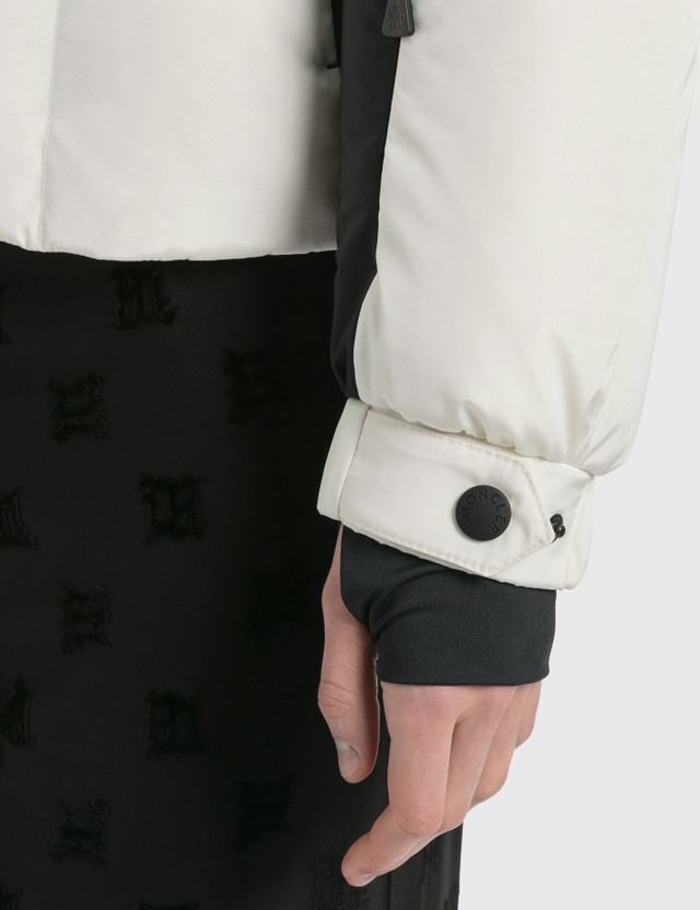 Moncler Long Puffer Jacket With Waist Belt White Women