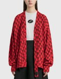 We11done Red Logo Printed Mohair Cardigan Picture