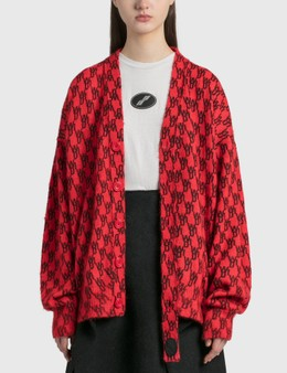 We11done Red Logo Printed Mohair Cardigan