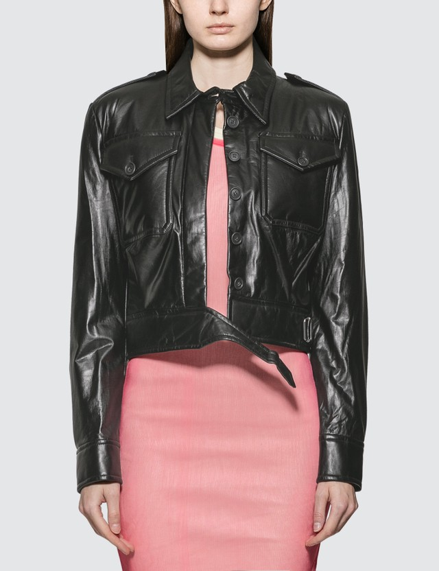 Helmut Lang Pocket Leather Jacket Black Women