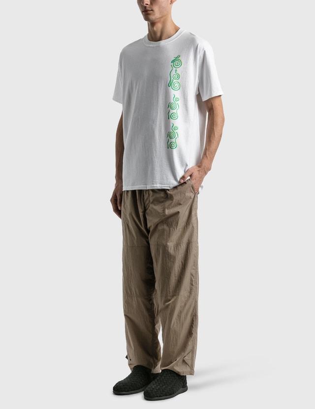 """Sasquatchfabrix. """"Kanameishi"""" Print T-shirt White × Green Men"""