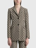 Marine Serre Moon Lozenge Pandora Blazer 00 Black On Tan Lozenge Women