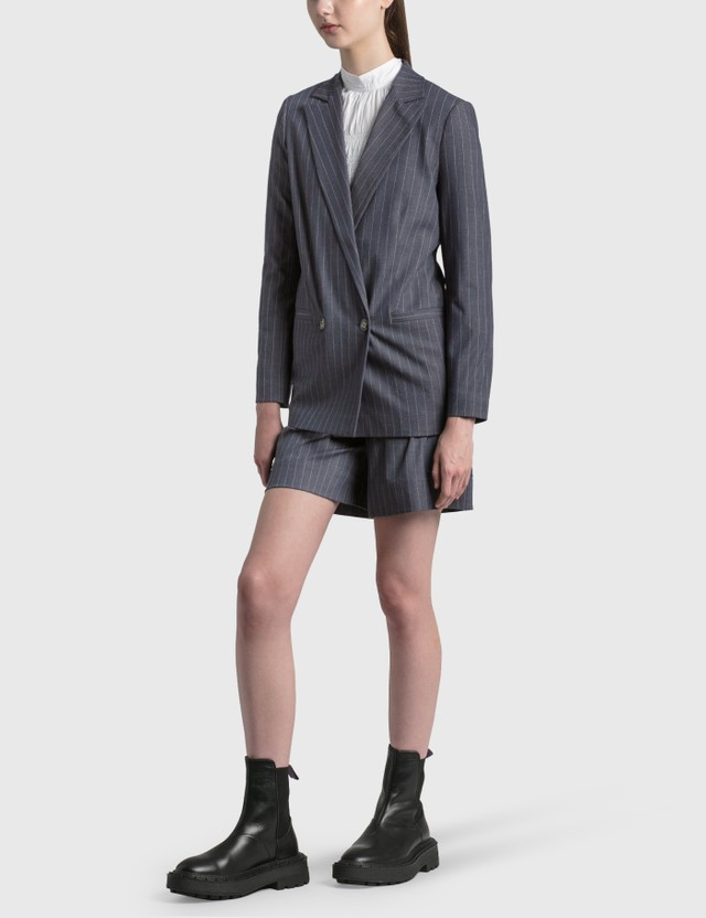 Ganni Stretch Stripe Blazer Dress Blues Women